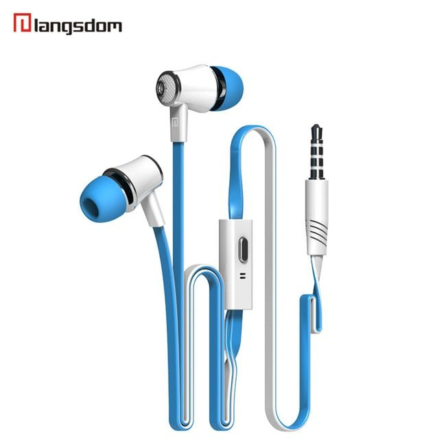 Langsdom JM21 high-end headphones heavy bass flat wire earphone more color optional 3.5 mm plug metal headset