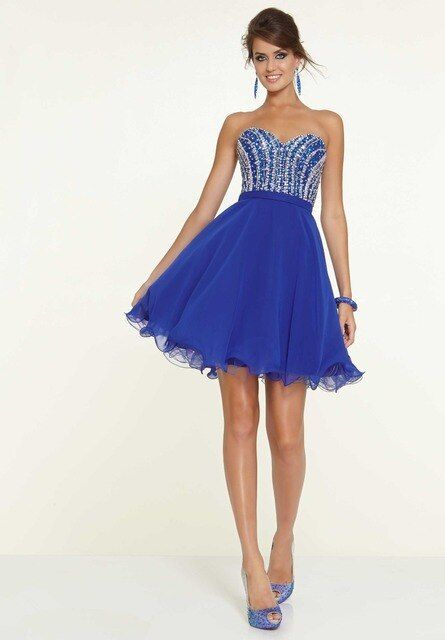 Vestido De Formatura 8th Grade Prom Dresses 2015 Short Royal Blue Homecoming Dresses Beaded Crystal A Line