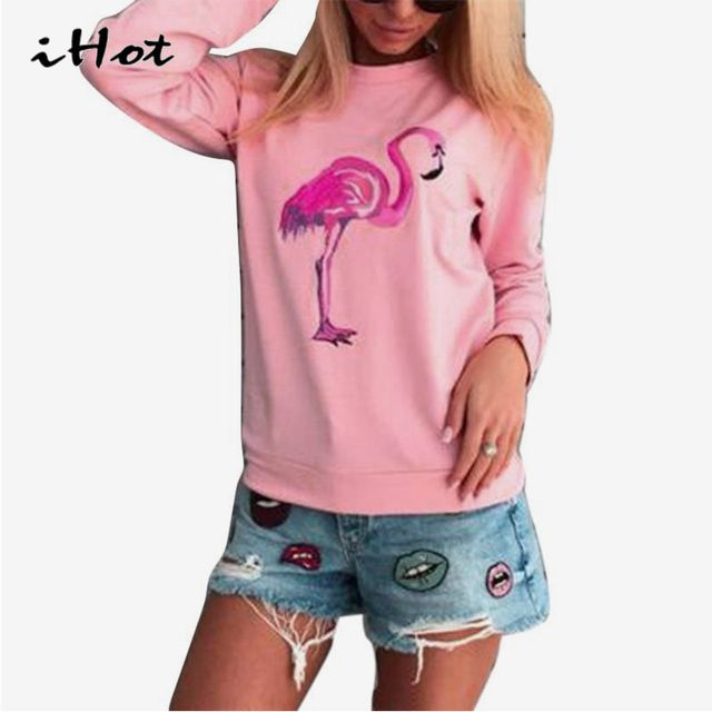 IHOT Women best friend t shirt Autumn Long Sleeves tops cute Flamingo Minion Printed Sweatshirts Sportswear Clothes Tracksuit