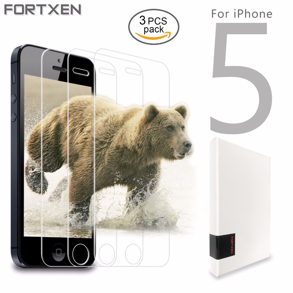 "FORTXEN Tempered Glass For iPhone 5s 5 s 5c SE 4"" Screen Protector [3 pieces lot] Protective Toughened Glass On Phone Cover Film"