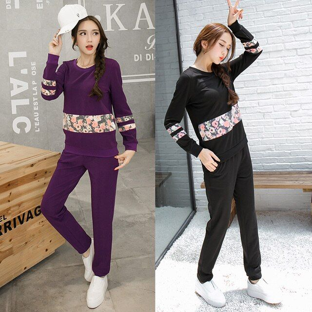 2016Autumn women long sleeve floral print sweatshirt with long pants tracksuit two pcs set female clothes set outfit XL-4XL 3876