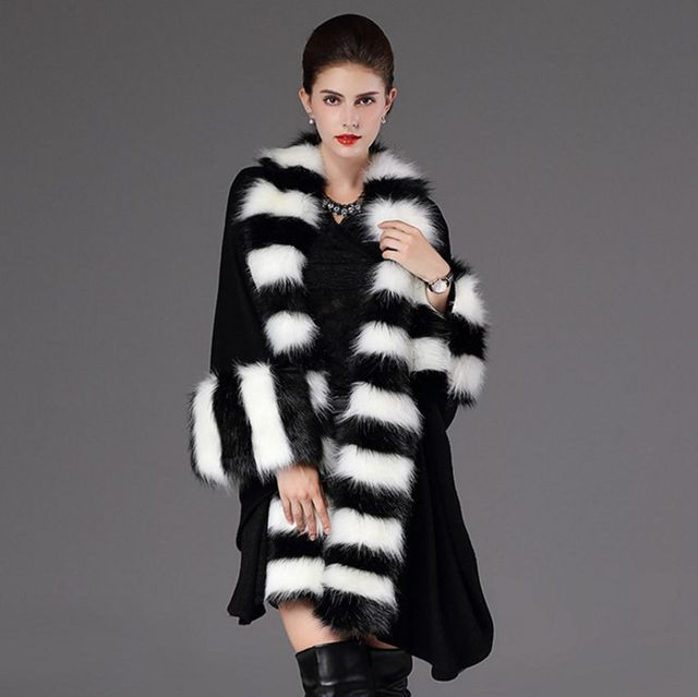 #2932 Fox Faux Fur Coat Ponchos and capes Fur poncho feminino inverno Luxury scarf Noble Fur Sweater Big Yards Winter poncho