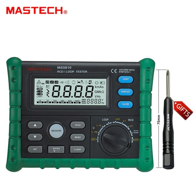 MASTECH MS5910 RCD/Loop Resistance Tester Circuit Trip-out Current/Time Detector with USB Interface