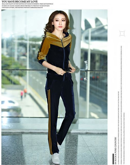 New 6XL plus size women's fashion loose gold velvet long-sleeved track suit  woman