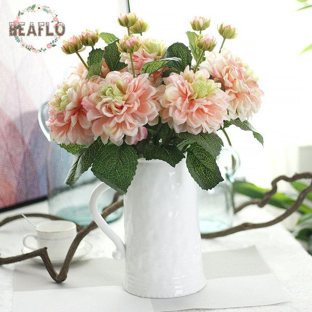 1PC Artifical Flowers 2 Heads Dahlia Silk Flower Floristry For Wedding Party Home Decorative 4 Colors