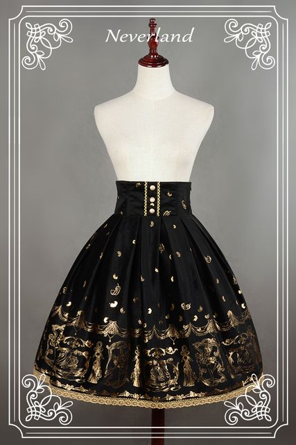 Neverland Swan Lake Black High Waist Printed Lolita Skirt for Lady Free Shipping
