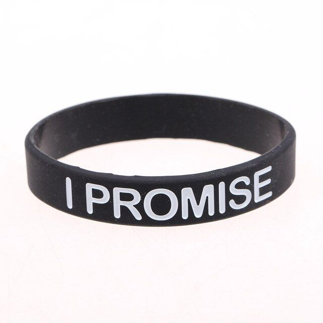 Fashion Bracelet For Men Women I PROMISE Black Silicone Bracelets & Bangle Power Bands Energy Wristbands Jewelry Simple Design