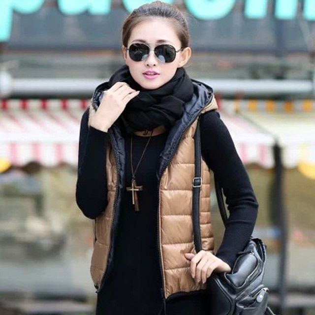 Autumn Winter 2016 Thickening Lady Outerwear Hooded Patterns Fashion Casual Cotton Women Vest Jacket wadded coat Free Shipping
