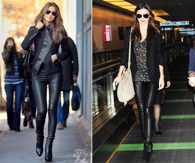 New Luxury Designer Italy Fashion 2018 Spring Women's Pants 100% Sheepskin Elastic Genuine Leather Full Pants Leggings