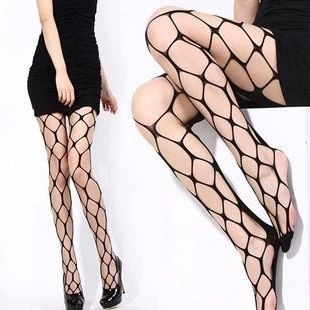 Women's Super Sexy Tights Black Fashion Ultra Elastic Super Large Big Mesh Fishnet Pantyhose Fishnet Tights #B0