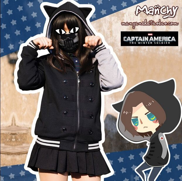 Hot New Marvel Animation Captain America Winter Soldier Cosplay Cotton Hoodies Coat Both Men and Women Free Shipping