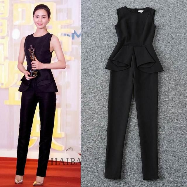 High Quality New Runway Fashion Jumpsuits Women 2016 Summer Ladies Ruffles Waist Skinny Leg Elegant Jumpsuit Romper Pant Overall