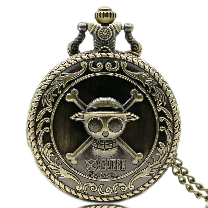 Hot Animation One Piece Cosplay Steampunk 3D Bronze Pocket Watch With Necklace Chain Free Shipping Best Gift To Children