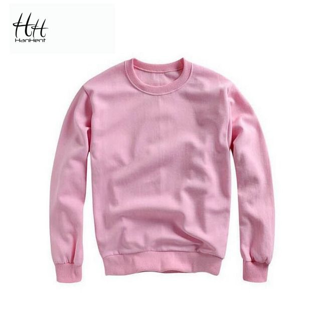 HanHent 2016 New Pure Color Hoodies Cotton Women Fleece Sweatshirts O-Neck Hoody Tops Autumn Warm Coat Girls Pullovers