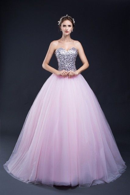 In Stock Pink Sweetheart Quinceanera Dresses Ball Gowns Sequined Lace Up Sweet 16 Dresses Vestidos De 15 Years Party Gowns