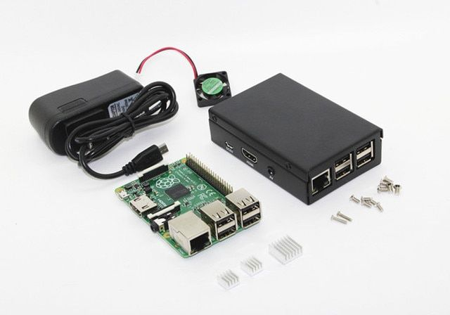Metal Box!!! Raspberry Rev 3.0 512 ARM Raspberry Pi Model B Plus + Black Pi Case + 5V fan + 2 Heatsinks + 5V 2A Power Adapter