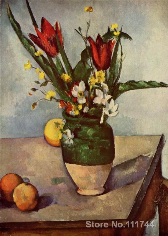 artwork of Paul Cezanne Still Life Tulips and apples modern paintings Landscape handmade High Quality
