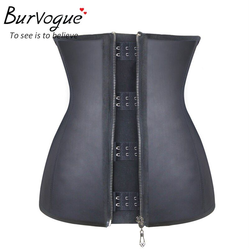 Burvogue Women Corset  Waist Corsets  Black Latex Zipper Underbust Corset Slimming 9 Steel Bone Body Shaper Corset