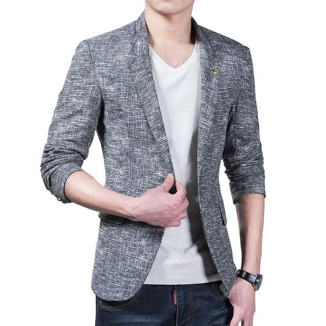 New Spring autumn men linen casual suit Single button long sleeve blazer men slim fit coat Plus size XXXL L26