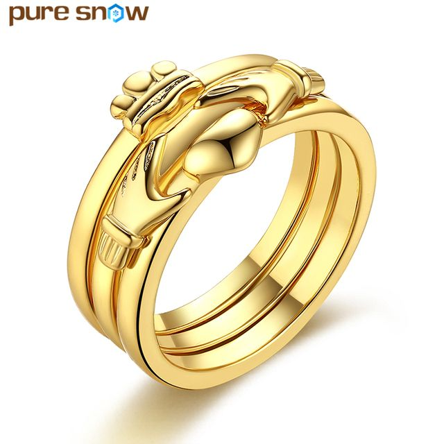 Pure Snow Wedding Jewelry Gold Color Engagement Rings Bridal Sets Heart Finger Rings Women Gift