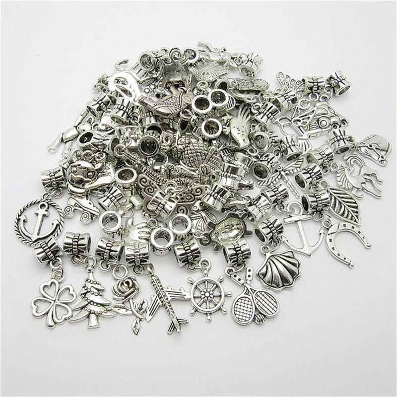 Mix 30pcs Antique Silver Charm Big Hole Loose Beads European Pendant fit Pandora Charms Bracelets & Necklace DIY Jewelry Making
