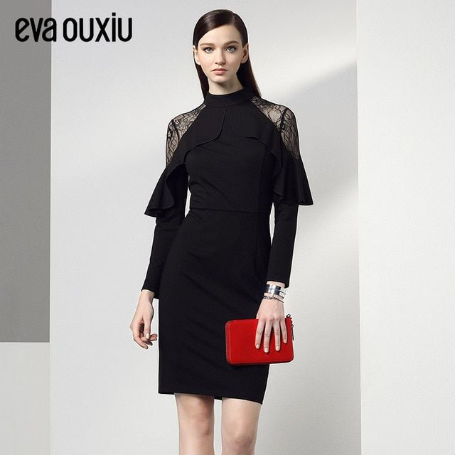 Evaouxiu Women Vintage Black Lace Stitch Dress Knee-length Butterfly Decor Fall Winter Long Sleeve Party Dress