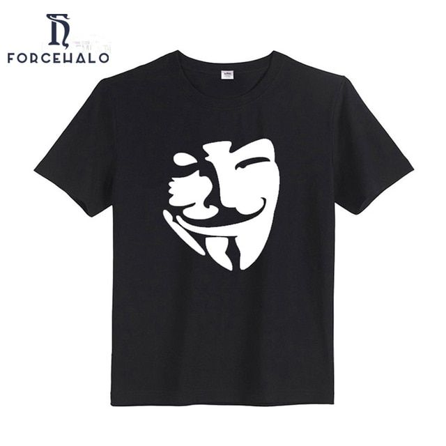 2017 Men's T Shirts 100% Cotton o-neck Summer T-shirts Male Short Sleeve Tshirts Quality Tee tops Plus Size S-3XL V for Vendetta