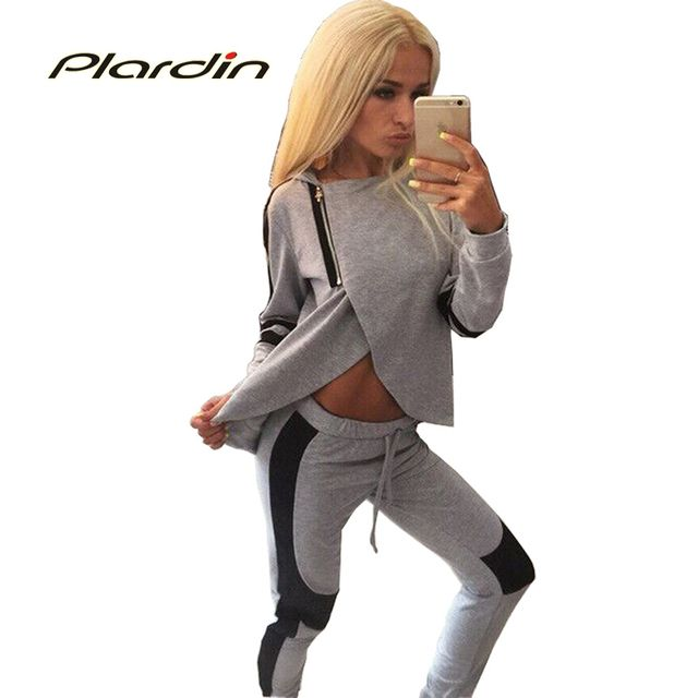 Plardin 2016 Fashion  Series In Europe And America Hit Color Hot Sexy Cultivating Long-Sleeved Track Suit Casual Clothes