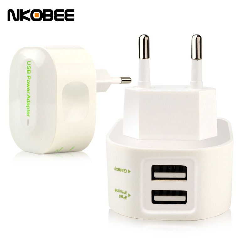 NKOBEE Phone USB Charger Adapter Wall Portable EU Plug Mobile Phone Smart Charger For iPhone For Samsung Charger 2 Ports 5V 2.4A