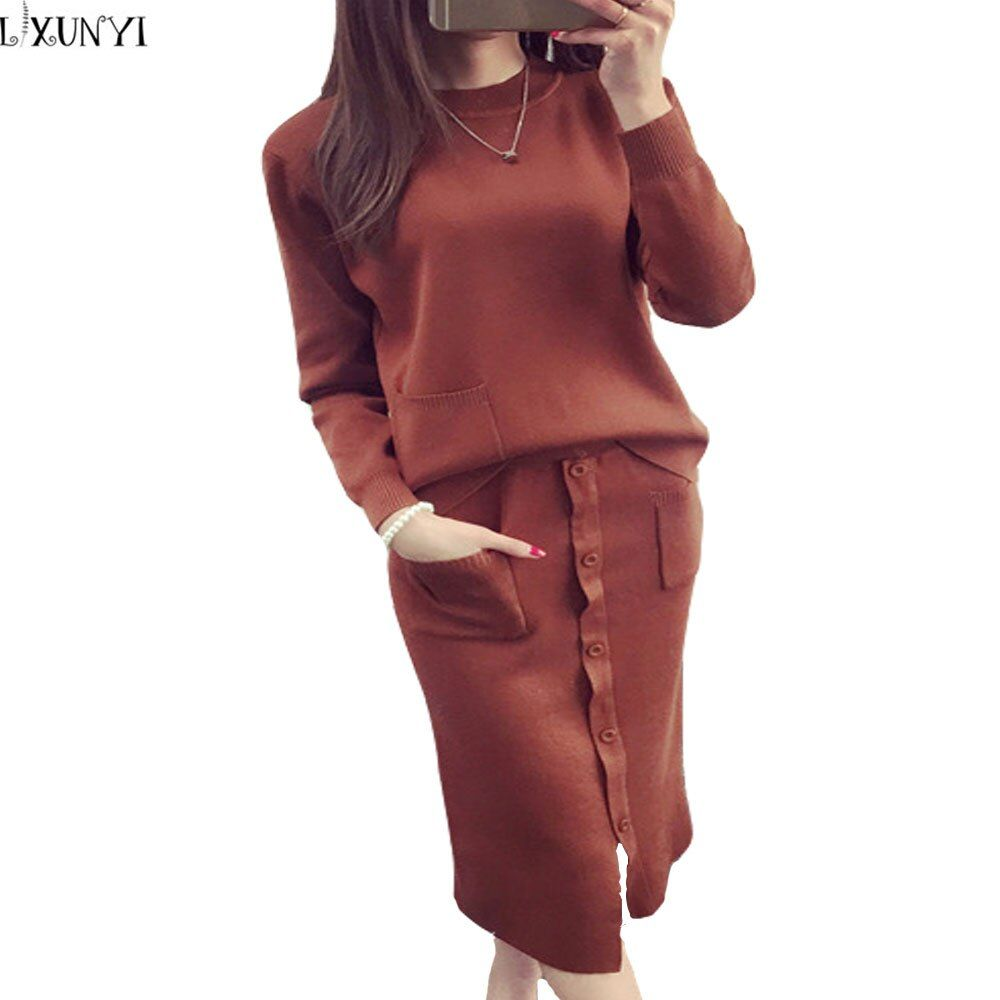 Autumn Winter Women Sweater Suit Set with Skirts Preppy Style Knitted Skirt Suits Female Sweater+Skirt Sets Women 2 Piece Sets
