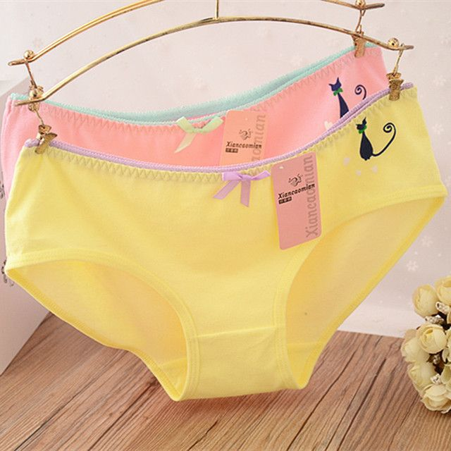 Hot Candy Color Sexy Female Underwear Women's Cotton Panties Cute Cat Bow Lady Breathable Underpants Girls Briefs 3NK095