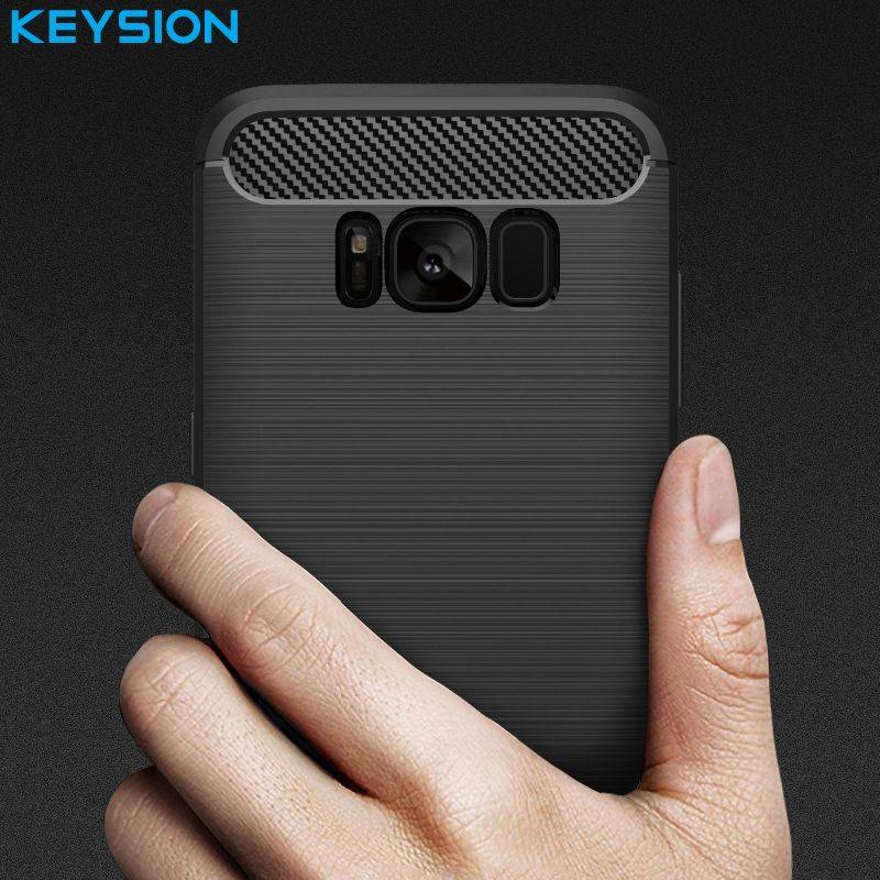 KEYSION Phone Case For Samsung Galaxy Note 9 S9 Plus S8 S7 Edge Environmental Carbon Fiber Soft TPU Anti-Skid Cover for Note 8