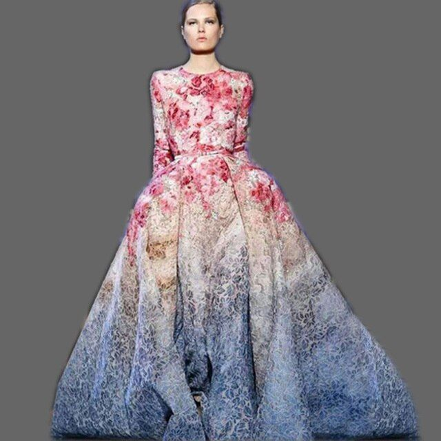 HIGH QUALITY Newest 2016 Runway Maxi Dress Women's Long Sleeve Sweet Floral Printed Celebrity Party Ball Gown Long Dress