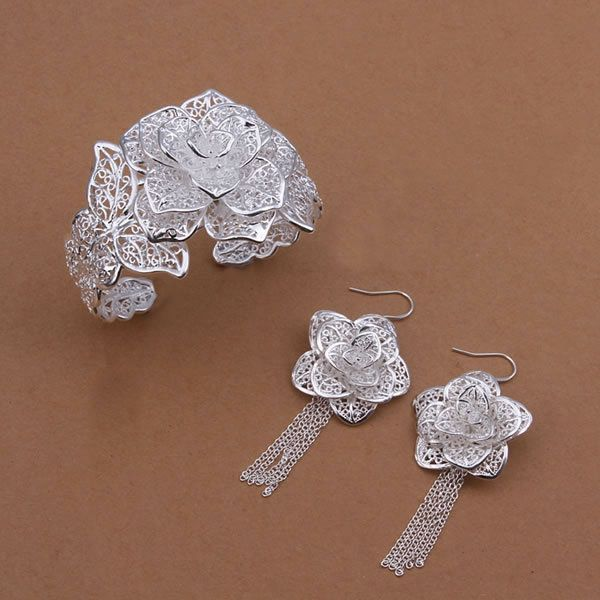 S448 silver jewelry set,Nickle free antiallergic rose flower bangle earrings jewelry set pulseira masculina
