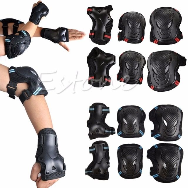 6pcs/1 Set  Protector Kids Adult Skating Scooter Elbow Knee Wrist Safety Pads Gear Set