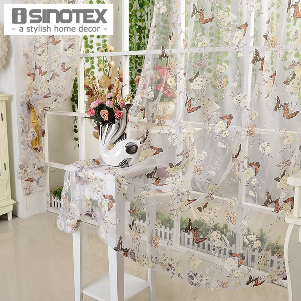Window Curtain Burnout Tulle Voile Fabric Butterfly Transparent Sheer For Home Living Room Screening 1PCS/Lot