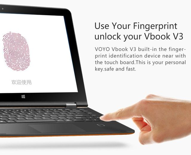 "VOYO VBOOK V3 Dual Boot Win10 + Android 5.1 13.3"" Tablets  Z8300 Quad Core 1.84GHz Fingerprint unlock 4G RAM 64GB ROM YOGATablet"