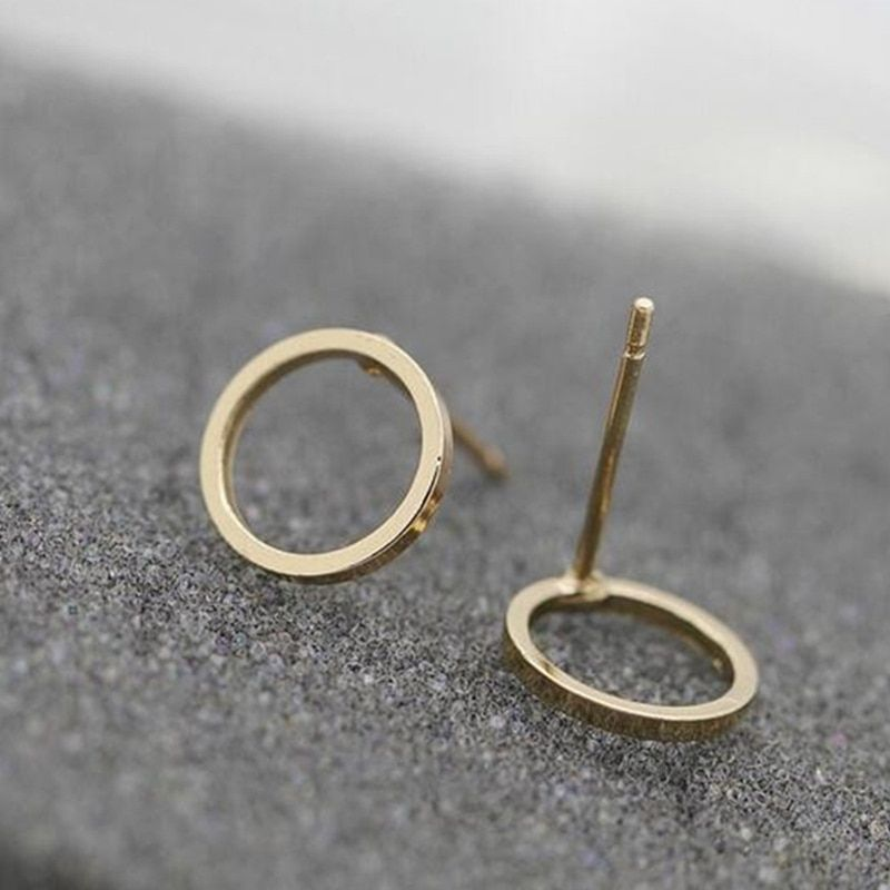 The minimalist series small circle stud earrings brand gold  plated earrings brand for women WJ-75 2016 new jewelry