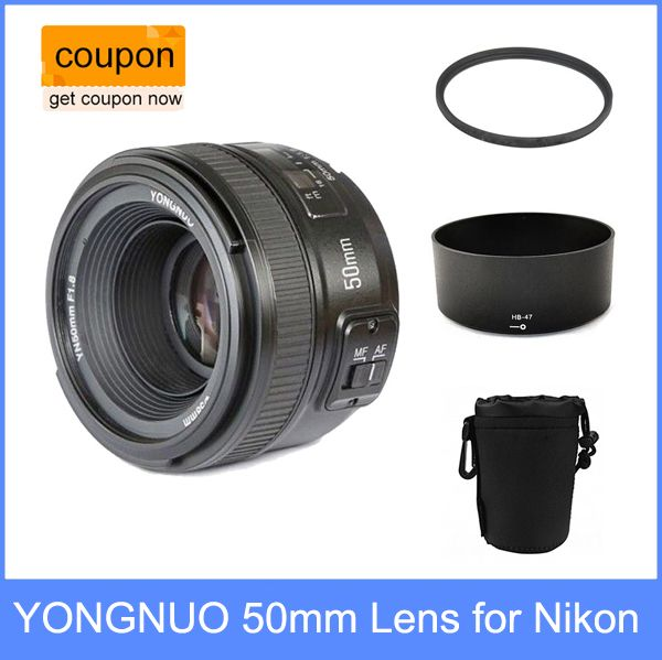 YONGNUO YN 50mm YN50mm f/1.8 AF Lens + Lens Hood + UV Filter + Lens Case Set Auto Focus for Nikon Cameras AF-S 50mm 1.8G