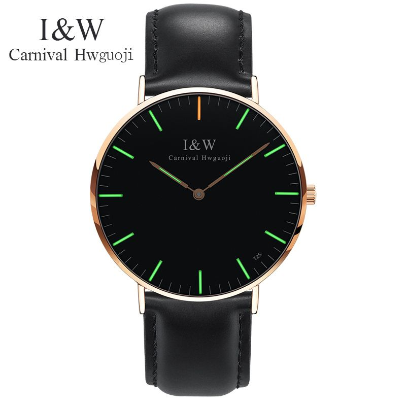 Carnival watch men Tritium Light Waterproof  Sapphire  Stainless Steel Quartz leather Watch relogio masculine