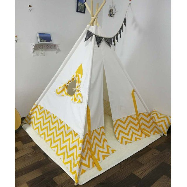 New  design white and yellow stripe  kids play tent indian teepee children playhouse children play room teepee