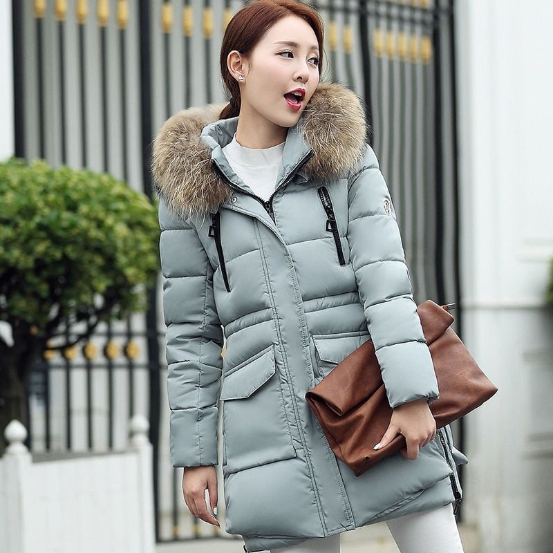 Women Coat Cotton-padded Winter Jacket Women Medium-long Down Parka Female Jacket Casual Hooded Ladies Coat