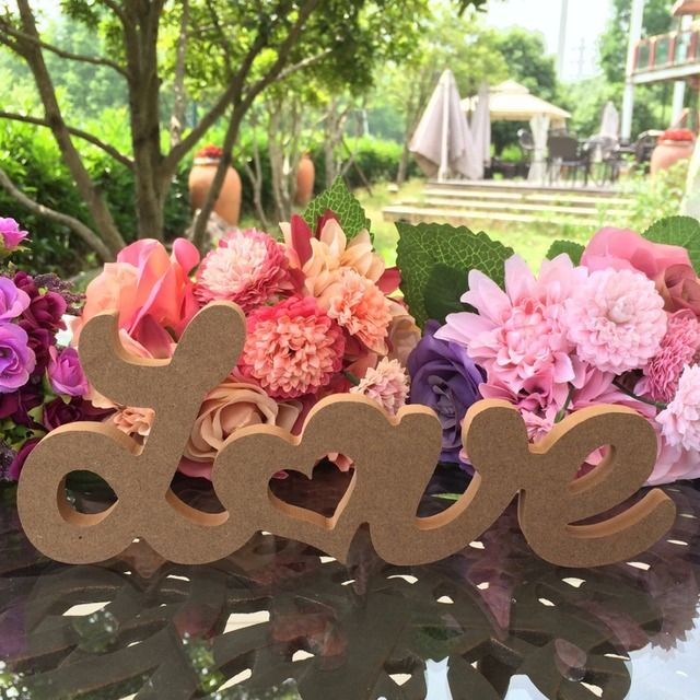 Free Shipping 10cmx25cm Wooden Love Heart Table Decoration Rustic Wedding Photo Props DIY LOVE letter Wooden Craft Ornament