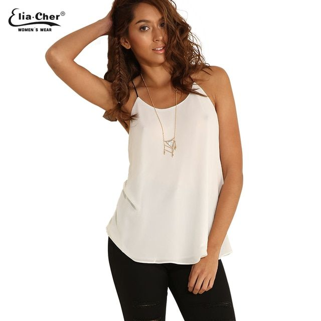 White Camis Women Summer Chiffon Strap Tops  Plus Size Female Clothing chic elegant fashion Ladies Tops