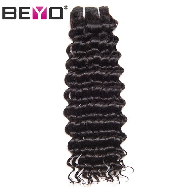 Beyo Hair Deep Wave Peruvian Hair Bundles 100% Human Hair Weave Bundles 10-28 Inch Non-Remy Hair Extension Natural Color 1 Piece