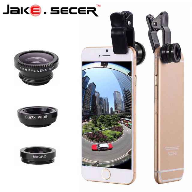Fisheye Lens Fish Eye + Wide Angle + Macro 3 in 1 Mobile Phone Lens For Phone Ip6S plus 5S 4S xiaomi Smartphone New Universal