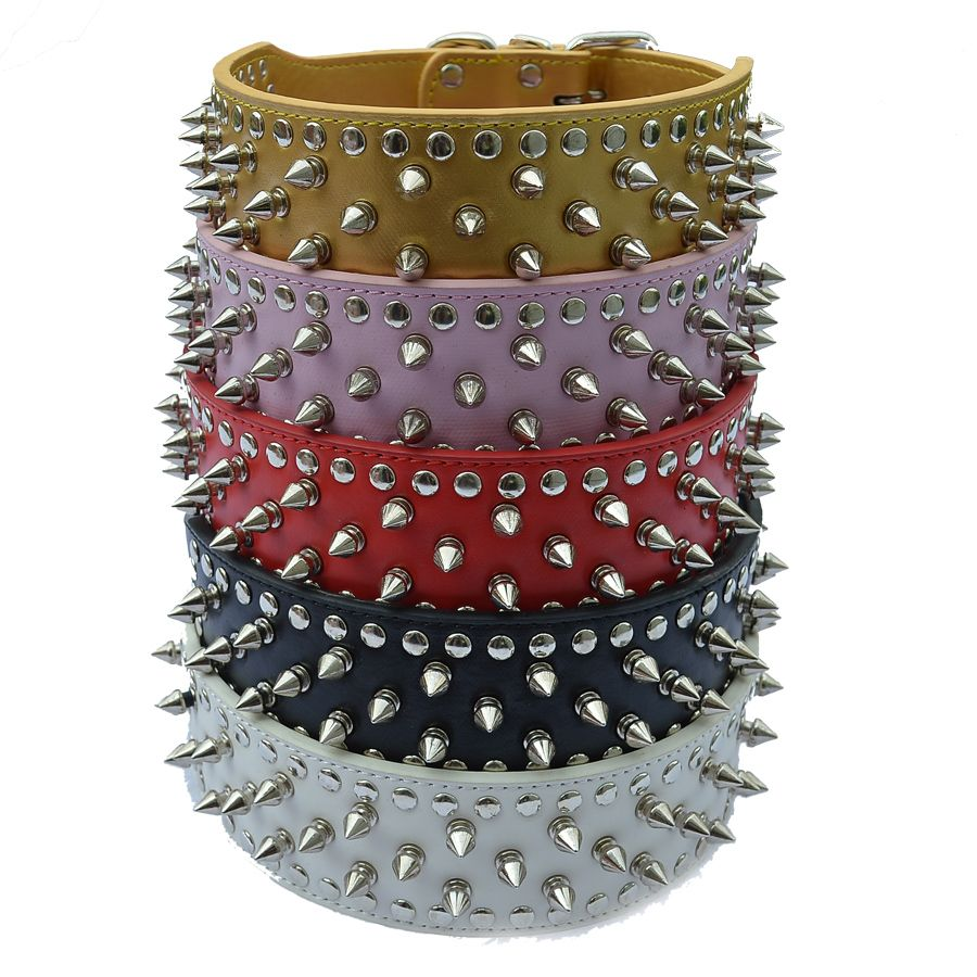 Pitbulls Spiked Dog Collar 2 Inch Wide Pu Leather Collars For Big Dogs Breeds Mastiff Large Pet Products Dog Supplies