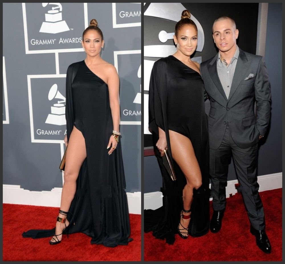 55th Sexy New Model Grammy Awards Red Carpet Celebrity Chiffon Split Side One Shoulder Jennifer Lopez Black Evening Dress