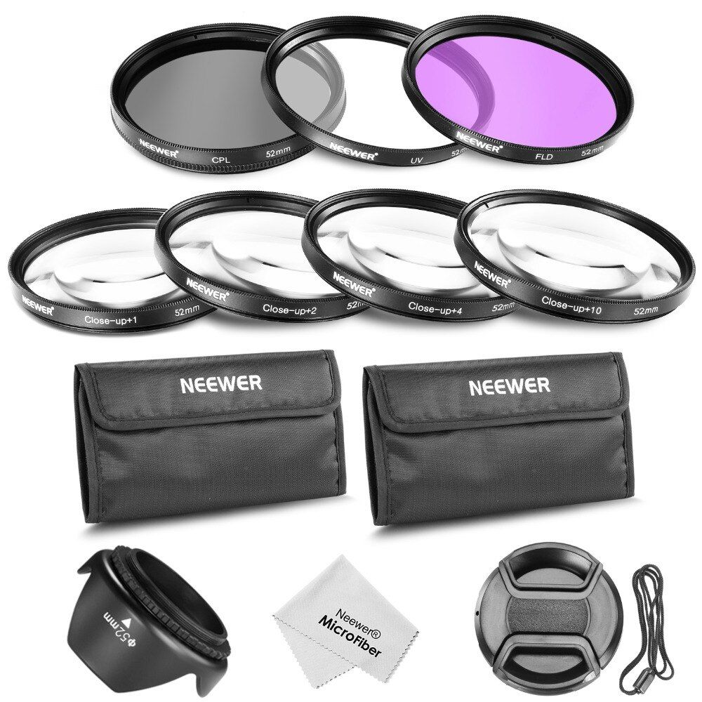 Neewer 52MM Professional Lens Filter and Close-up Macro Accessory Kit for NIKON D7100 D7000 D3200 D3100 D3000 D80 DSLR Cameras
