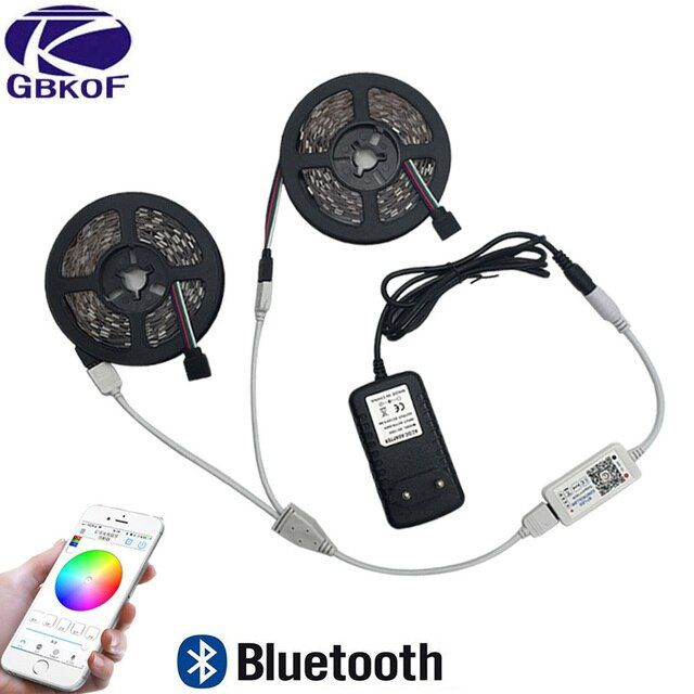 5m 10m RGB LED strip light 2835 3528 SMD diode led ribbon tape waterproof Bluetooth WiFi 24Key control DC 12V Power Adapter Kit